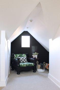 Sitting nook in an attic bedroom.