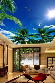 3D verde coco CC278 fondo de pantalla de techo extraíble | Etsy