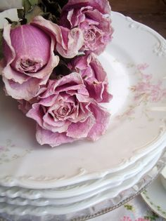 Pretty plates & roses, these plates look like some Homer Laughlin plates I have. So pretty and feminine!