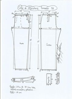 Esquema de modelagem de calça alfaiataria tamanho 46. Dress Sewing Patterns, Blouse Patterns, Clothing Patterns, Bermuda Social, Sewing Collars, Plus Size Patterns, Sewing Pants, Aprons Vintage, Pattern Drafting