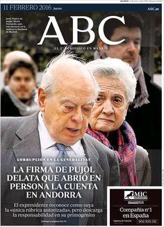 Pujol, o la corrupción continua. Portada de ABC (España)