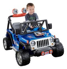 Check out the Power Wheels Hot Wheels Jeep Wrangler at the official Fisher-Price website. Explore the world of Power Wheels today! Power Wheel Cars, Kids Power Wheels, Power Wheels Jeep, Wrangler Jeep, Hot Wheels, Black Wheels, Kids Atv, Blue Jeep, Jeep Grill