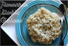 BEAUTY & THE BEARD: PARMESAN GARLIC QUINOA (you'll never eat mac & cheese again!) I make rice this way- haven't tried Quinoa, but I will have to try it!