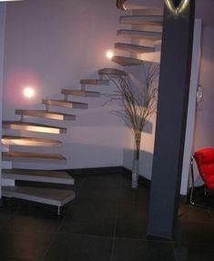 08 cr maill re courbe d billard e b ton gris lisse - Beton cire escalier bois ...