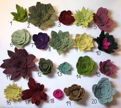 Great clothes ornaments idea ! Felt Succulents Set of Seven by fairviewpl on Etsy, 20 different felt varieties to pick from!