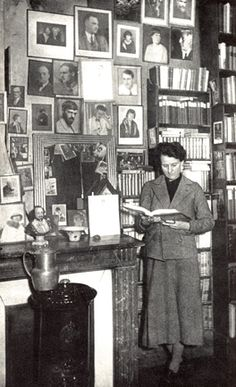 Sylvia Beach in her Paris bookshop, Shakespeare and Company.