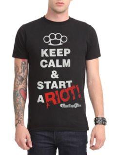 Three Days Grace Keep Calm Riot Slim-Fit T-Shirt    hot topic
