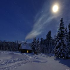 Night exposure of cabin in the snowy woods with the moon blazing overhead.