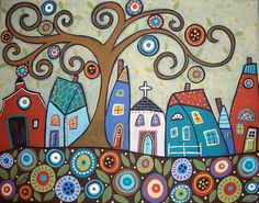 Folk Village painting, art project for students