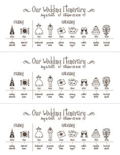 Wedding Timeline  Printable Digital File Schedule