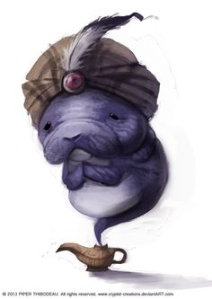 DAY Manatee Genie by Cryptid-Creations on DeviantArt Art Du Croquis, Super Cute Animals, Wale, Illustrations, Cute Illustration, Cute Drawings, Art Sketches, Character Art, Cool Art