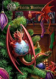 Little Helpers Yule card by fantasy artist Anne Stokes. Dragon yule card from the Yuletide Mischief Christmas card range by Anne Stokes. Anne Stokes, Cute Dragon, Baby Dragon, Dragon Art, Dragon Wing, Dragon Garden, Red Dragon, Christmas Dragon, Christmas Art