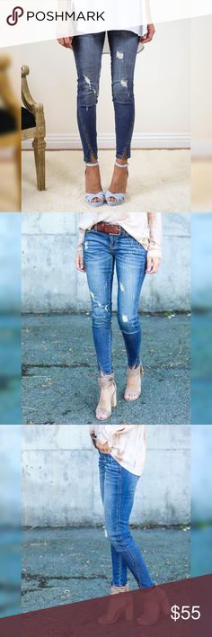 COMING❣️ Distressed Split Ankle Denim Jeans COMING❣️ Distressed Split Ankle Denim Jeans. Denim is Cotton, Polyester & Lycra blend. Nice stretch true to size. Price is FIRM Unless Bundled. Please note this is Preorder GlamVault Jeans