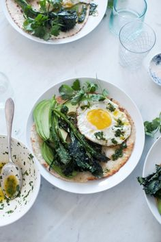 Roasted Broccoli Rabe Tostada with Avocado, Fried Egg, and Chimichurri…