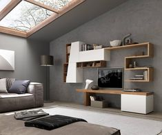 Idea for the console area. It needn't be a full size Nor squarish boring cabinet 😌 Italian Living Room, Study Table Designs, Tv Cabinets, Next At Home, House Goals, Bookshelves, Floating Shelves, Armoire, House Design