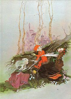 Fairy Tale Print - Snow White, Rose Red - Vintage Print - Children's Book Plate, Print - Fairy Stories - Dwarf - Beverlie Manson - 1970s