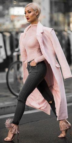 Women's fashion | fashionistas #outfit #ideas | Pink + grey | Micah Gianneli