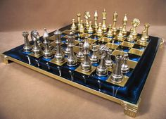 Very special Valentines require very special gifts! Staunton Metal Chess Set With Brass Board. #luxurychesssets