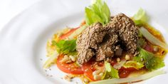 Shaun Hill's crispy duck livers come served with a sharp tomato & celery salad