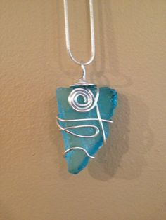 Wire Wrap Pendant Necklace-Faux Sea Glass on Etsy, $18.00