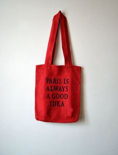 Tote Bag  Red Linen Tote Bag  Paris is always a good by lyralyra