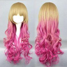 Blonde-pink dip-dyed wig.