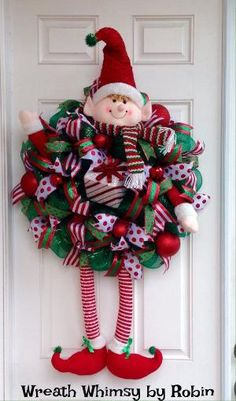 Huge Christmas Elf Deco Mesh Wreath by WreathWhimsybyRobin on Etsy by hazel jane