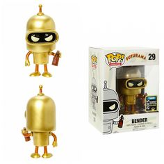 FUNKO Futurama POP! Animation #29 Gold Bender Vinyl Figure 2015 SDCC San Diego Comic-Con Summer Convention Exclusive + POP Protector