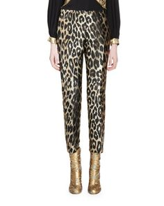 Paola+Leopard+Jacquard+Skinny+Pants,+Natural+by+Dries+van+Noten+at+Bergdorf+Goodman.