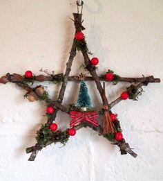 Handmade Rustic Oak Twig Yule Pentagram Wreath Decoration.