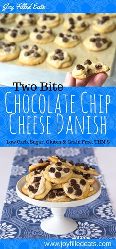 These Two Bite Chocolate Chip Cheese Danish are a perfect addition to any brunch menu, dessert, or tea time. Low Carb, Grain Free, Gluten Free, THM S.