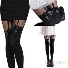 Hot Sale Vintage Tights Pantyhose Tattoo Mock Bow Suspender Sheer Stockings B1AU #GreatOrleansus #Tights