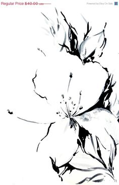 Holiday Sale Jasmine Flowers Art Print of Original Drawing 12x18,  Abstract Floral Black and White Wall Art #wallart #watercolor