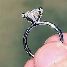 Bague de mariage : Round Moissanite Solitaire Engagement Ring with Micro Pave Set Diamonds Wedding Rings Solitaire, Dream Engagement Rings, Vintage Engagement Rings, Engagement Ring Solitaire, Round Wedding Rings, Solitare Ring, Engagement Sets, Diamond Bands, Diamond Wedding Bands