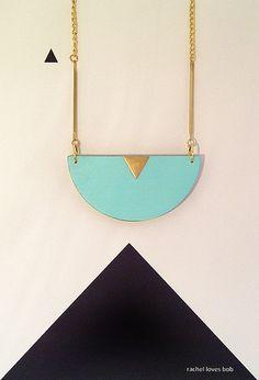 Mint half moon wooden necklace by RachellovesBob on Etsy, £22.00