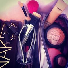 M.A.C. Cremesheen lipsticks, stippling brushes, Skinfinish powders and powder blushes, all some of my fav's