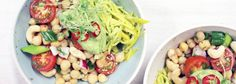 Chickpea salad with avocado mayo and yellow courgetti