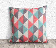 Geometric Pillow Cover, Pillow Cover, Pillow Cover Geometric, Linen Pillow Cover, 18x18 - Printed Geometric - 029