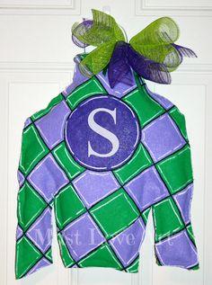 Kentucky Derby Jockey Silk Burlap Door Hanger by MustLoveArtStudio, $40.00