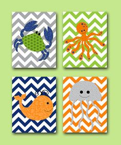 Sea Crab Nursery Whale Nursery Baby Boy Nursery art print Children Wall Art Baby Room Decor Kids Print set of 4 8x10 crab orange blue green on Etsy, $56.00