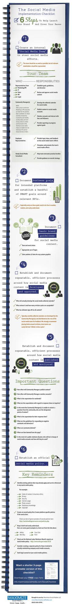 SOCIAL MEDIA - The Social Media Implementation Checklist | Maximize Social Media Infographic.