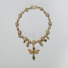 """""""Gorgeous enameled flower and butterfly necklace from the last third of the 17th Century."""""""