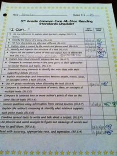 5th Grade Common Core Student Checklist..: easy for students to keep track of growth