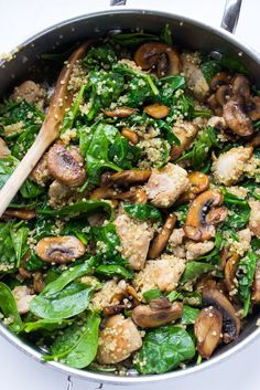 Healthy One-Pot Chicken and Quinoa dinner with leafy green baby spinach and mushrooms in a tangy-sweet mustard sauce. Easy and delicious with minimal clean up!