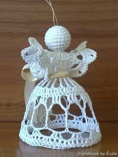 Handmade by Ecola & Dana Art - Aniołki 2015 Crochet Angel Pattern, Beach Cottage Style, Xmas, Christmas Ornaments, Crochet Squares, Snowflakes, Diy Crafts, Quilts, Holiday Decor