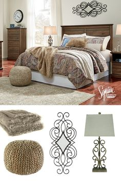 Creating the perfect balance of style is as easy as 1-2-3! Start with a versatile wood panel bed, then layer with a neutral bedding set, then top it off with a mix of contrasting accessories! Try out a cozy faux-fur throw, thick textured pouf and an elegant wall mirror! Ta-da! #AshleyFurniture - Ashley Furniture - Bedroom Ideas - Cozy Bedrooms - Style - Master Bedroom - #Bedroom