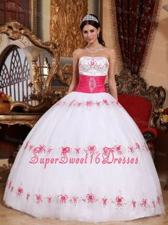 Beautiful White and Hot Pink Sweet 16 Dress Strapless Taffeta and Tulle Appliques Ball Gown