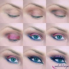 This pictorial uses colorful eyeshadow shades and glitter eyeliners to create this stunning eye makeup. See the wonderful product list for this vibrant night out look here.