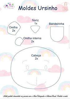 Boas dicas Online: Porta maternidade de ursinho com molde Felt Crafts Patterns, Applique Patterns, Baby Crafts, Diy And Crafts, Mobile Banner, Felt Name, All Craft, Saved Items, Baby Sewing