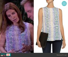 Hope's blue and green snake print top on Days of our Lives. Outfit Details: http://wornontv.net/51429/ #DaysofourLives